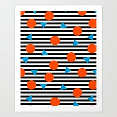 Yadda Yadda - memphis lines stripes dots triangles geometric abstract minimal print pattern wacka yo Art Print