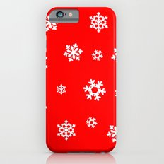 Snowflakes (White on Red) Slim Case iPhone 6s