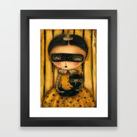 The Halloween Witch And The Black Cat Framed Art Print