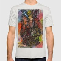 Watercolor Illusion  Mens Fitted Tee Silver SMALL