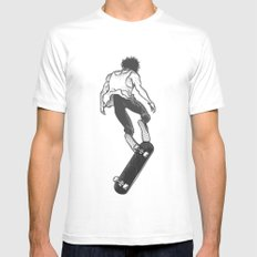Skater White SMALL Mens Fitted Tee