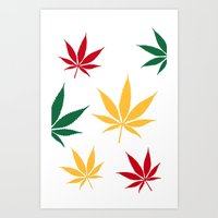 Rasta Color Leaves On Wh… Art Print