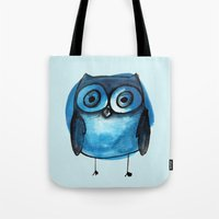 Blue Owl Boy Tote Bag