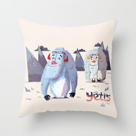 :::Happy Yetis::: Throw Pillow