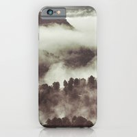 iPhone & iPod Case featuring Foggy morning at the mountains. Retro forest by Guido Montañés