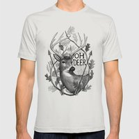 Oh Deer B&W Mens Fitted Tee Silver SMALL