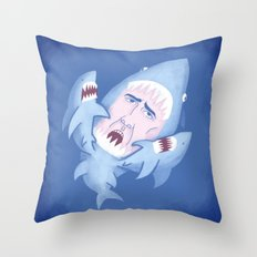 Nic Cage is Sharks! Throw Pillow