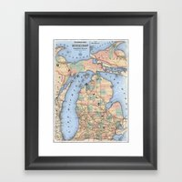 Michigan Railroad Map Framed Art Print