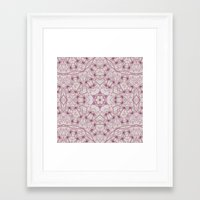 Vintage Raspberry Pink and Paris Gray Earth Mandala with Hearts Framed Art Print