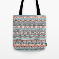 Tribal #4 (Coral/Aqua) Tote Bag