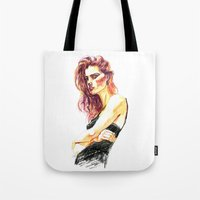 Fashion - Girl in a Black Dress Tote Bag