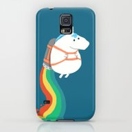 Fat Unicorn On Rainbow J… Galaxy S5 Slim Case