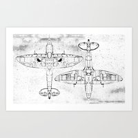 Spitfire Mk. XIV (black) Art Print