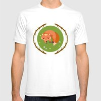 Sleeping Mr Fox Mens Fitted Tee White SMALL