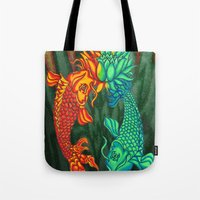 Koi Fish Lotus Tote Bag
