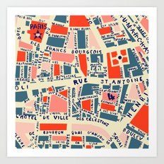 paris map blue Art Print