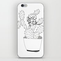 cactus in black iPhone & iPod Skin
