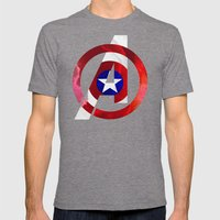 Captain America Avengers Mens Fitted Tee Tri-Grey SMALL