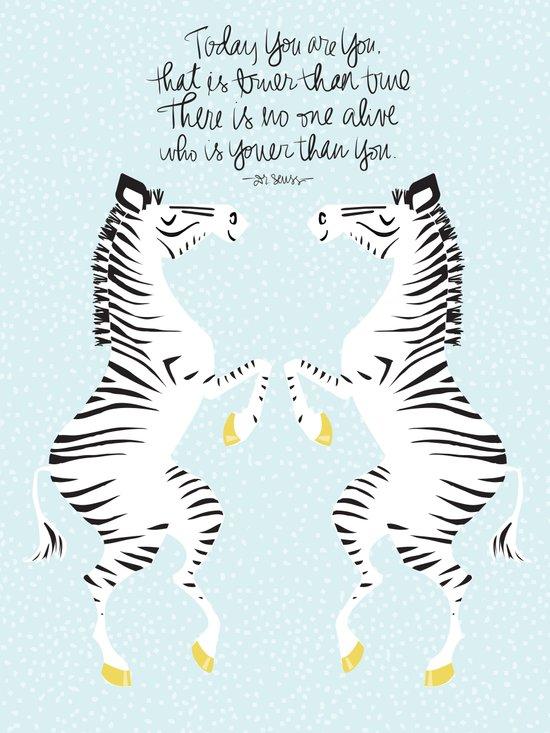 Two Zebras (Dr. Seuss) Blue Art Print