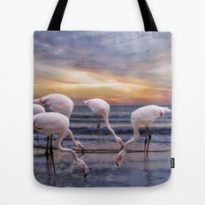 Flamingos feeding Tote Bag