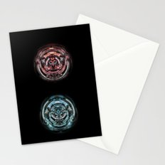 The caterpillar machinery red and cyan brothers Stationery Cards