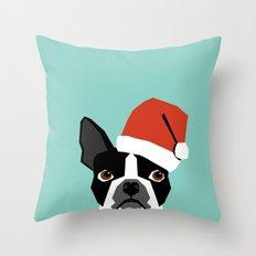 Xmas Boston Terrier Santa Hat funny dog gift for dog lover terrier owner boston terrier cute puppy  Throw Pillow