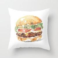 A burger Throw Pillow