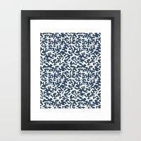 navy coral pattern Framed Art Print