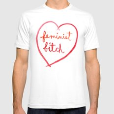 Feminist Bitch White Mens Fitted Tee SMALL