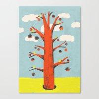 Red Tree, Yellow Birds Canvas Print