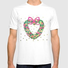 Xmas Heart Wreath Mens Fitted Tee White SMALL