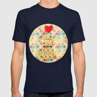 Love is All You Need Mens Fitted Tee Navy SMALL