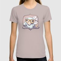 Hipster Owl Womens Fitted Tee Cinder SMALL
