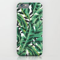 green iPhone & iPod Cases featuring Tropical Glam Banana Leaf Print by Nikki