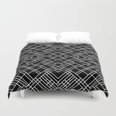 Map Outline 45 R Black Duvet Cover