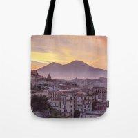 Napoli, landscape with volcano Vesuvio and sea Tote Bag
