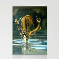 Red Stag Drinking Stationery Cards