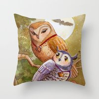 Someone To Watch Over Me ~ Owls in moonlight Throw Pillow