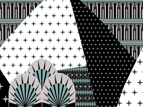 Deco Fans Rock Mash-up Art Print