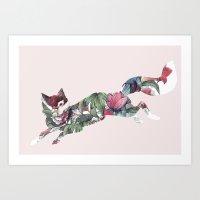 Flower Fox Art Print