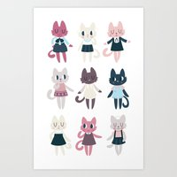 Adorable Fashion Kittens Art Print