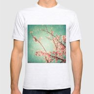 Pink Autumn Leafs On Blu… Mens Fitted Tee Ash Grey SMALL