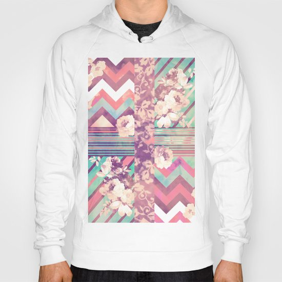 Retro Pink Turquoise Floral Stripe Chevron Pattern Hoody