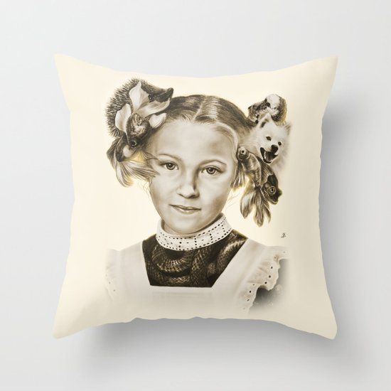 Childhood Pets Throw Pillow