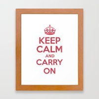 keep Calm and Carry On - Red/White Book Framed Art Print