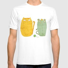 Cat-mouse friendship Mens Fitted Tee SMALL White