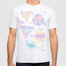 Nineties Dinosaurs Patte… Mens Fitted Tee Ash Grey SMALL
