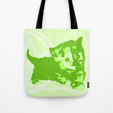 Here Kitty, Kitty - neon green/chartreuse Tote Bag