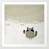 Raccoon And Cats Art Print