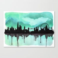 Mint Green London Skyline 2 Canvas Print